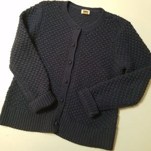 LL Bean Navy Blue Cardigan Button Front